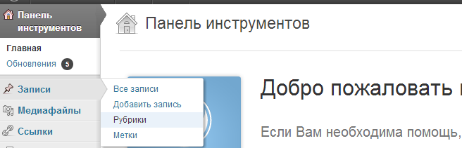 Панель инструментов WordPress, раздел: записи