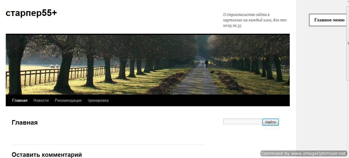 Страница сайта с установленным плагином Выплывающее меню