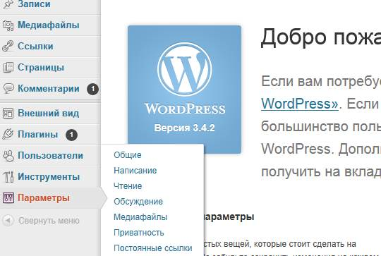 Панель инструментов WordPress, раздел: параметры