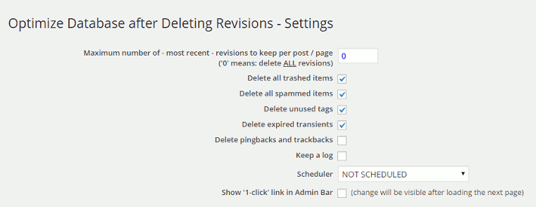 Optimize Database after Deleting Revisions - Settings