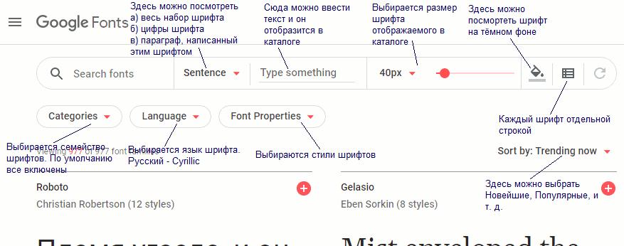 Сервис Google Fonts